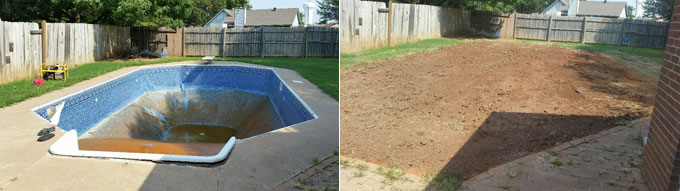 Swimming pool removal of Norman, OK